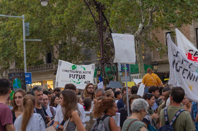 Barcelona, Catalonia, Spain, September 27, 2019, mobilization for the climatic emergency. Student strike with the aim of demanding. Governments from all over stock photos