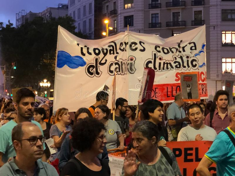 Barcelona, Catalonia, Spain, September 27, 2019, mobilization for the climatic emergency. Student strike with the aim of demanding. Governments from all over stock photo