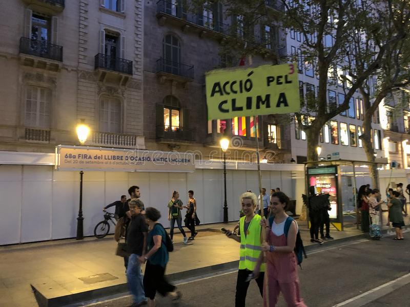 Barcelona, Catalonia, Spain, September 27, 2019, mobilization for the climatic emergency. Student strike with the aim of demanding. Governments from all over royalty free stock photo