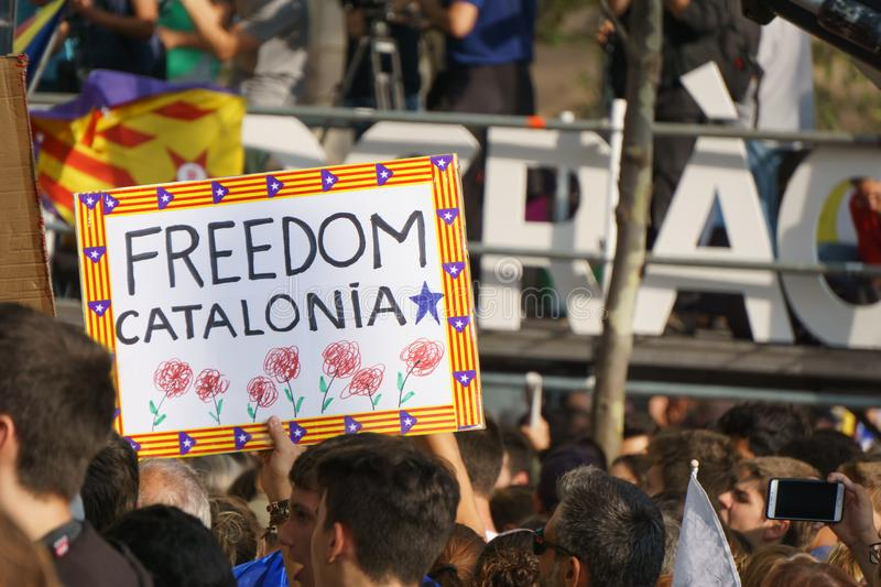 Barcelona, Catalonia, Spain, September 21, 2017: Riots of catalan people protesting. For spanish government decision about referendum of independence of royalty free stock photography