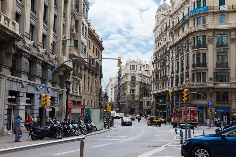 Street in the center of Barcelona. stock photography