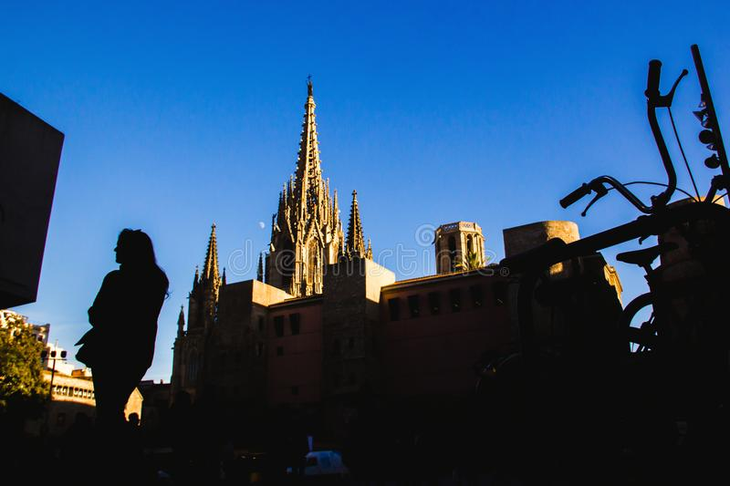 Barcelona Cathedral in Gothic Quarter Catalonia Spain. Street photography woman royalty free stock images