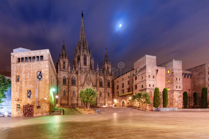 Barcelona Cathedral in the moonlit night, Spain. Cathedral of the Holy Cross and Saint Eulalia in the moonlit night, Barri Gothic Quarter in Barcelona, Catalonia stock images