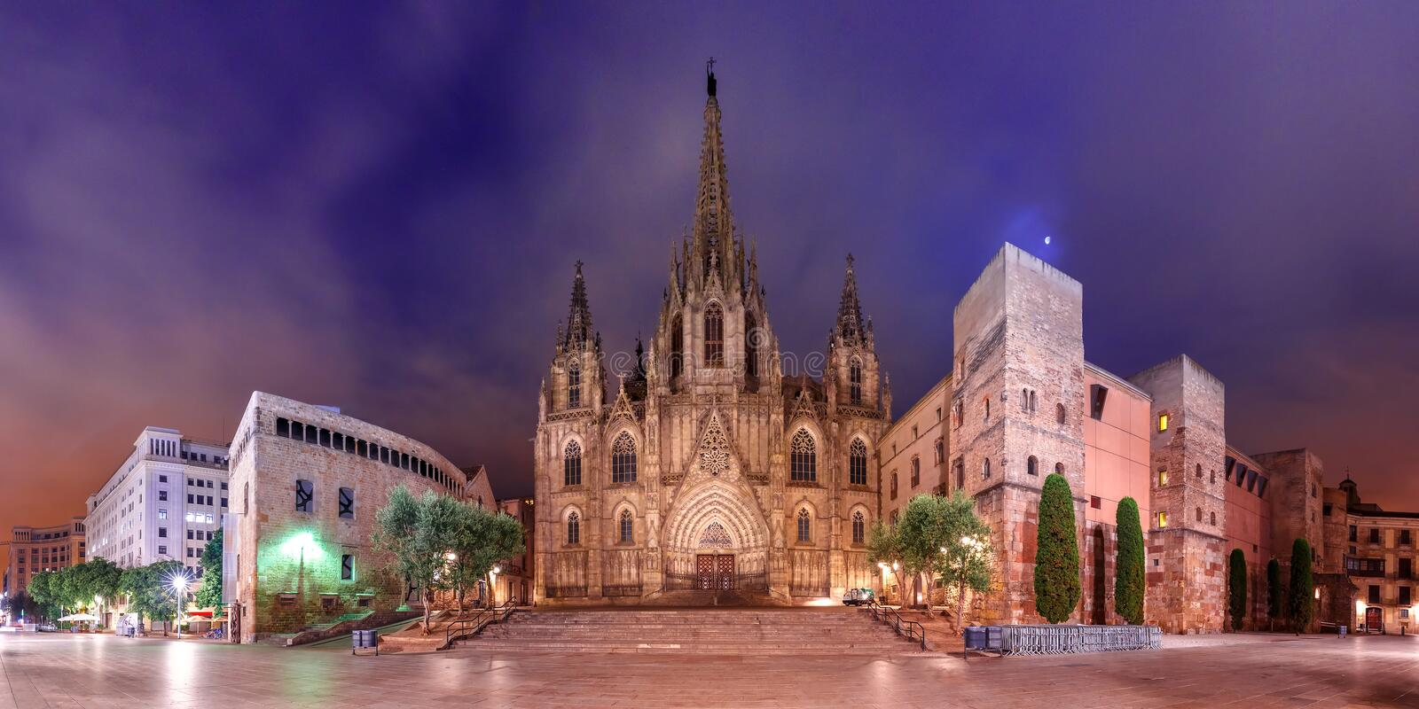 Barcelona Cathedral in the moonlit night, Spain. Panorama of Cathedral of the Holy Cross and Saint Eulalia in the moonlit night, Barri Gothic Quarter in royalty free stock photos
