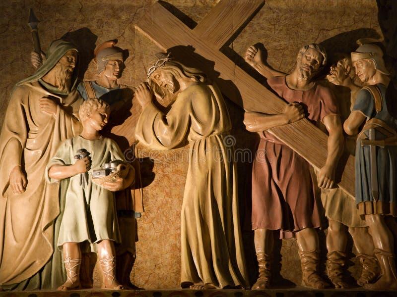Barcelona - Christ mit dem Kreuz lizenzfreie stockbilder