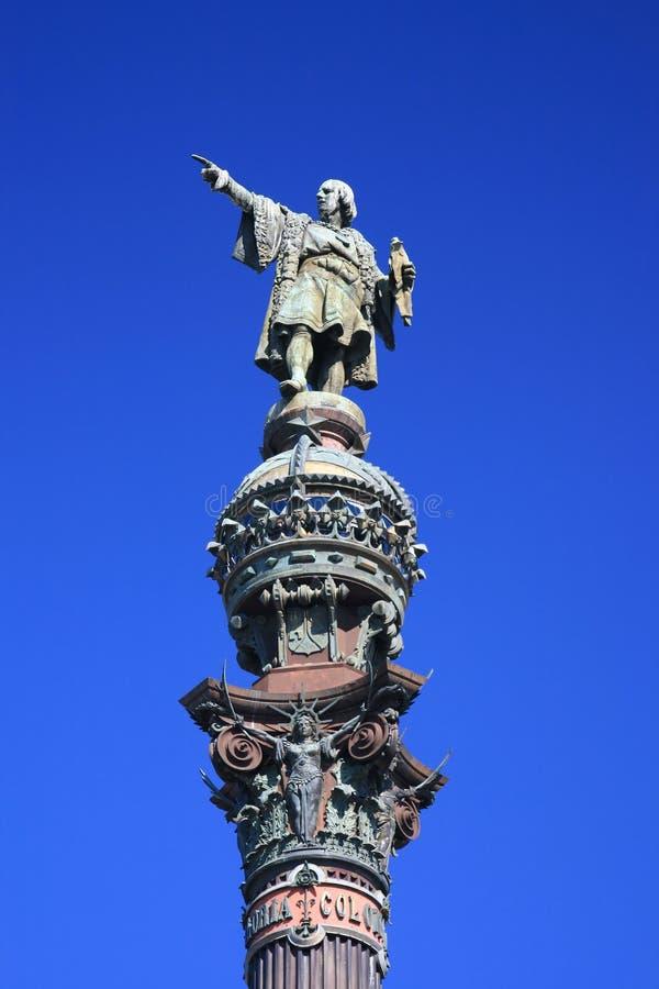 barcelona christopher columbus spain staty fotografering för bildbyråer