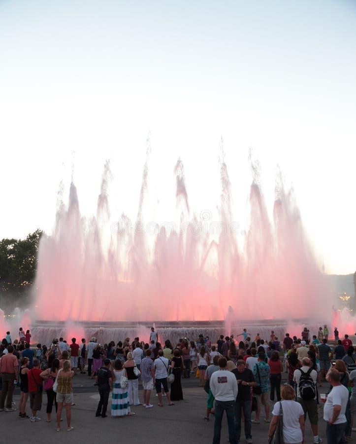 barcelona chrzcielnicy fontanny magii magica obrazy stock