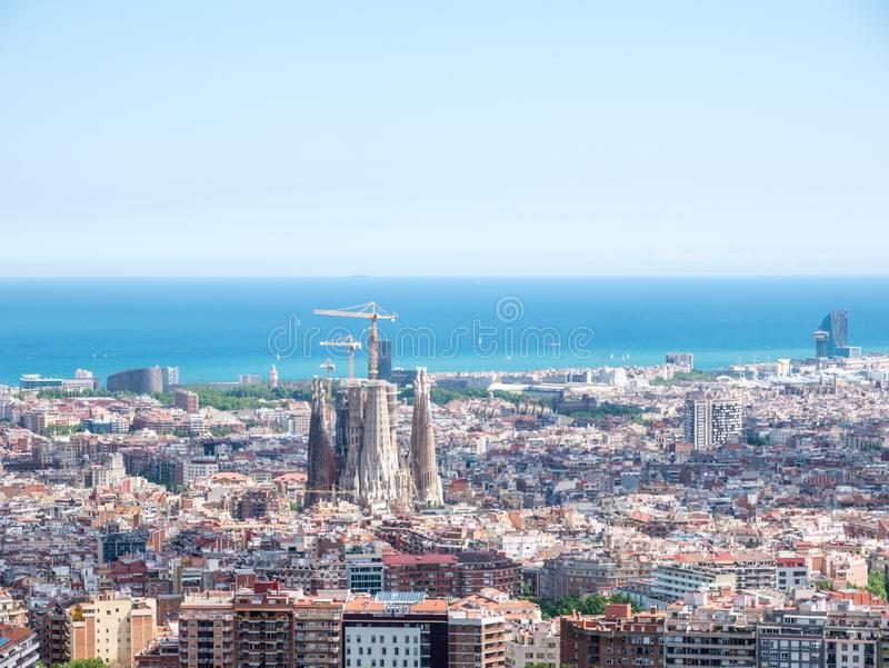 Barcelona city aerial view in Catalonia, Spain, cityscape with the Sagrada Familia at the middle far end royalty free stock photo