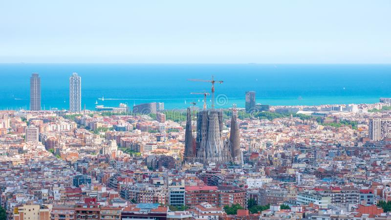 Barcelona city aerial view in Catalonia, Spain, cityscape with the Sagrada Familia at the middle far end royalty free stock image