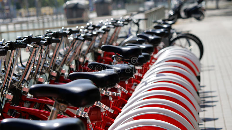 Barcelona city bicycles. City rent bicycles in Barcelona, Catalonia, Spain, July 2016 royalty free stock image