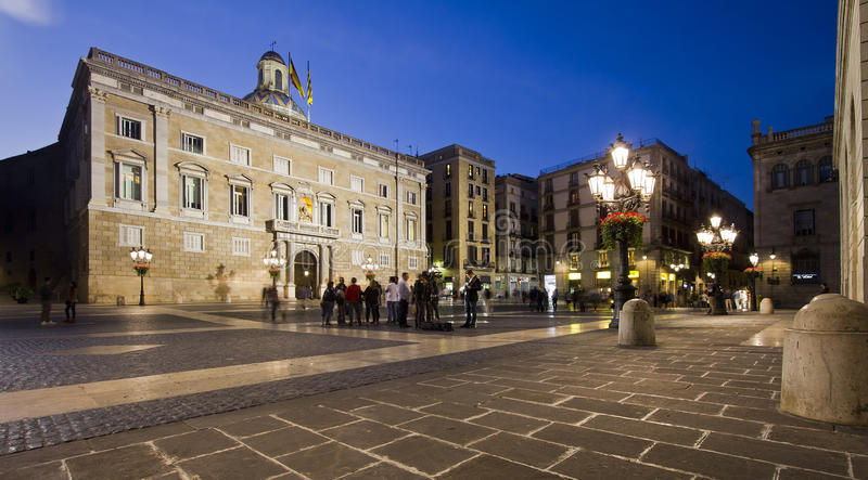 Barcelona City Hall At Night In Spain Editorial Stock ...
