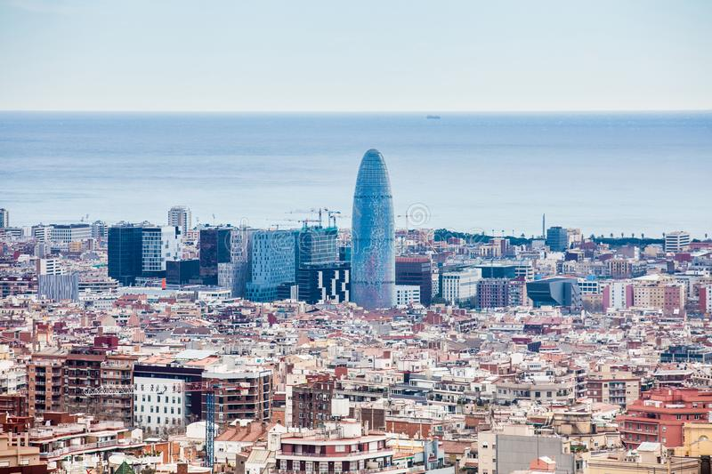 Barcelona city seen from Park Guell stock photo