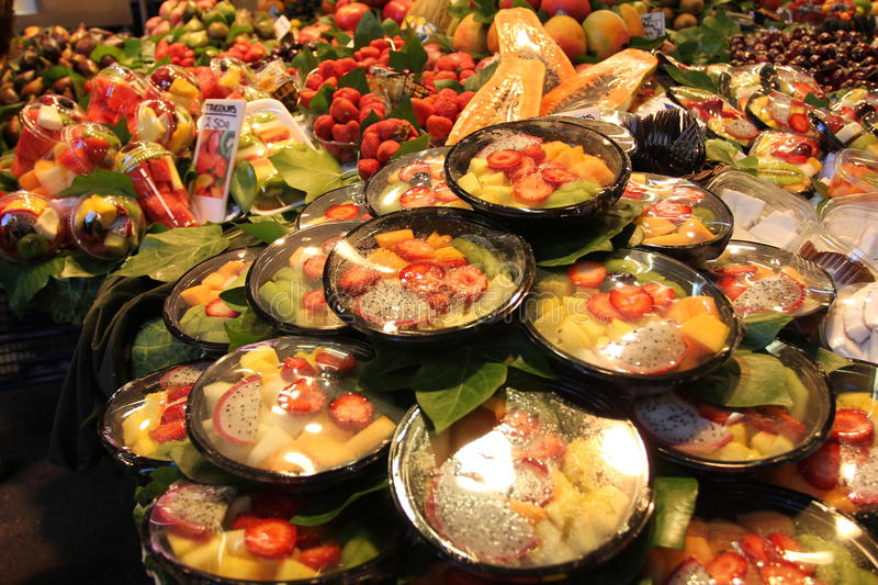 The Barcelona city sightseeings, Spain. fruits at the market of St Josep royalty free stock photography