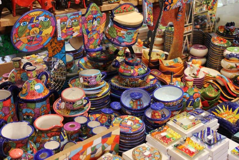 The Barcelona city sightseeings, Spain. souvenir shop stock photo