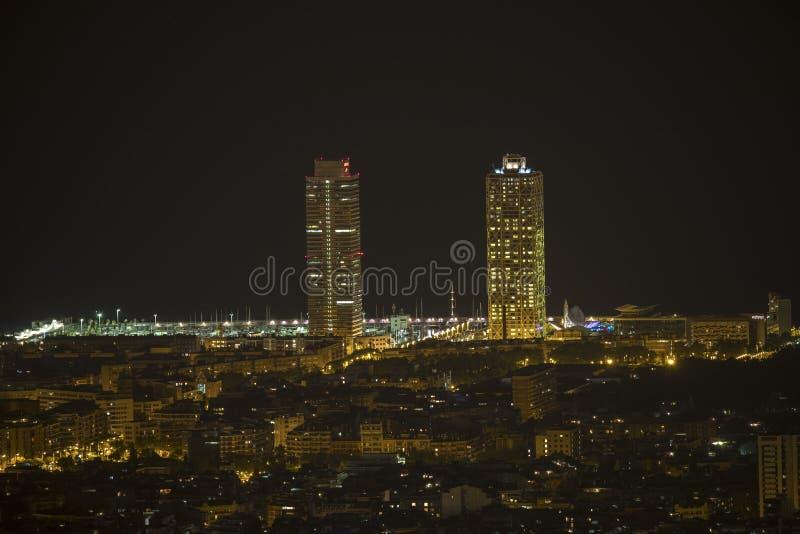 Barcelona city skyline stock images