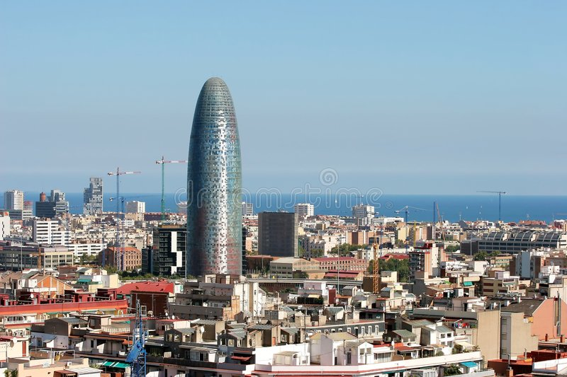 Barcelona city skyline and office. Barcelona Spain city skyline view from the top of Sagrada Familia church by Antonio Gaudi royalty free stock images