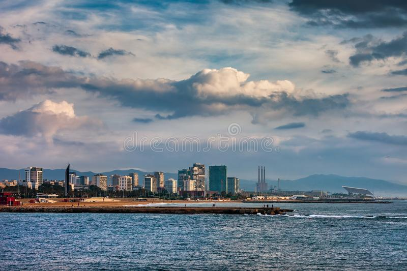 Barcelona City Skyline Sea View stock image