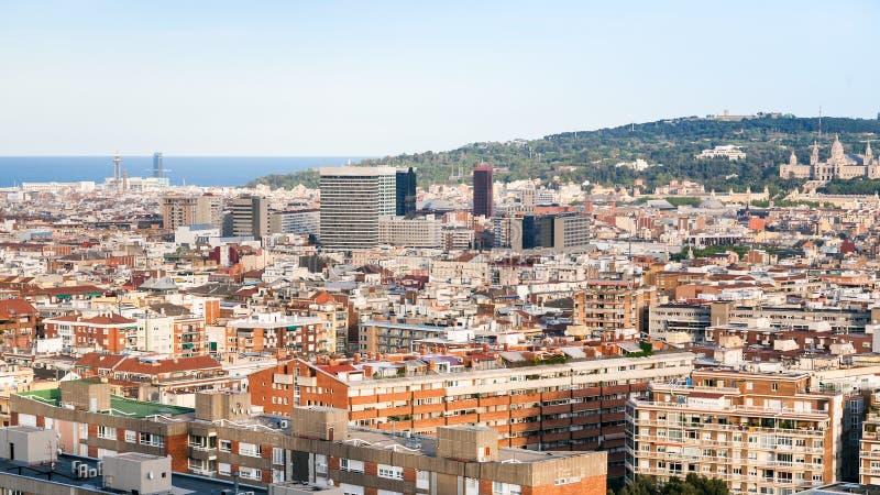 Barcelona city skyline in spring evening. Twilight royalty free stock image