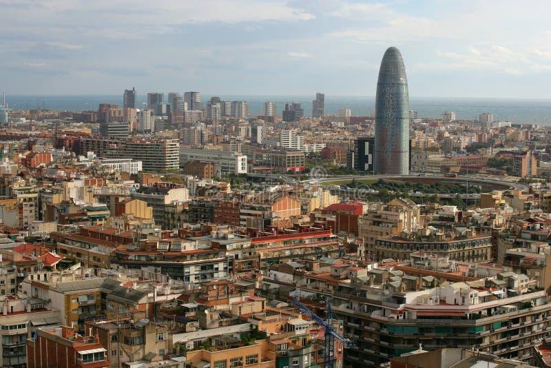 barcelona cityscape royaltyfria bilder