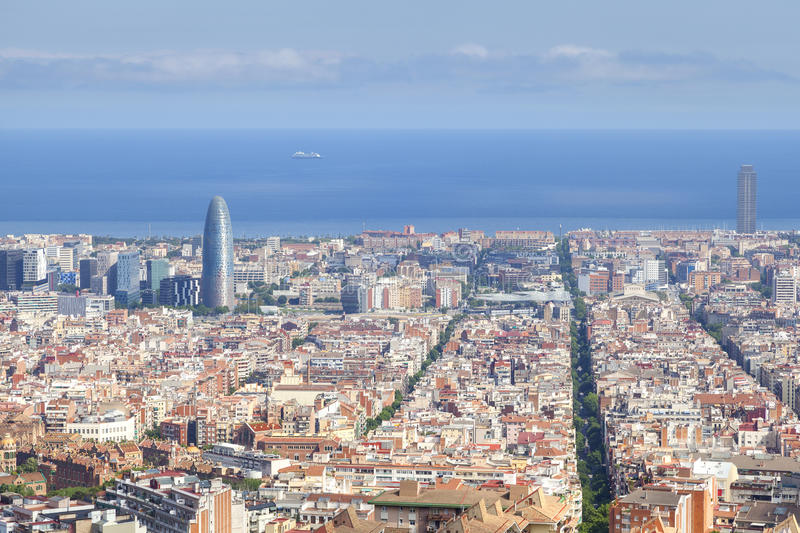 Barcelona cityscape. In the area of agbar stock images