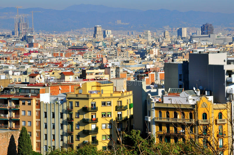 Download Barcelona cityscape stock image. Image of barcelona, hill - 34894109