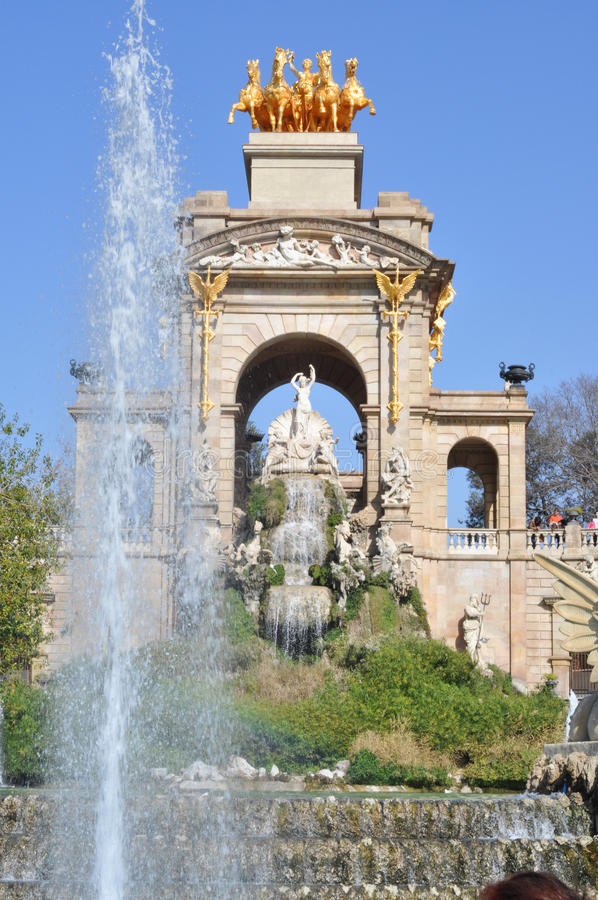 Barcelona ciudadela park lake fountain royalty free stock image