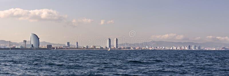 Barcelona coastline. Panorama seen from the sea royalty free stock photo