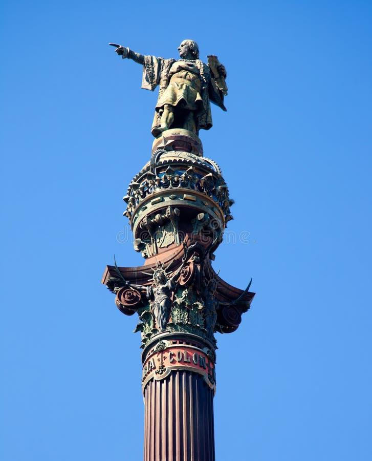 Barcelona Cristobal Okrężnicowa statua na niebieskim niebie obrazy royalty free