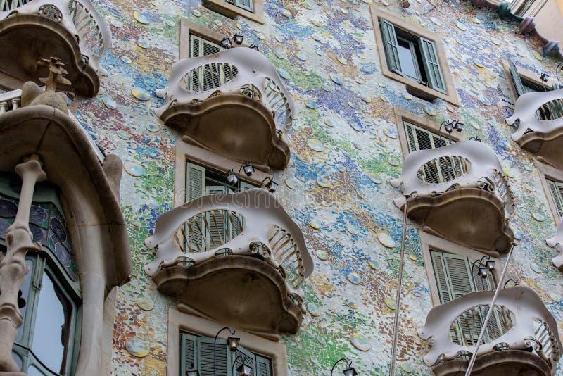 Casa Batllo in Passeig de Gracia in the Eixample district of Barcelona, Catalonia, Spain, on december 18, 2018 royalty free stock photography