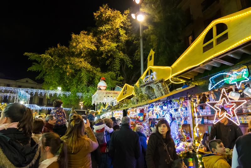 BARCELONA, DECEMBER 2017: Santa Llucia christmas market at night in Barcelona, Catalonia, Spain.Santa Llucia christmas market at. Santa Llucia christmas market stock photo