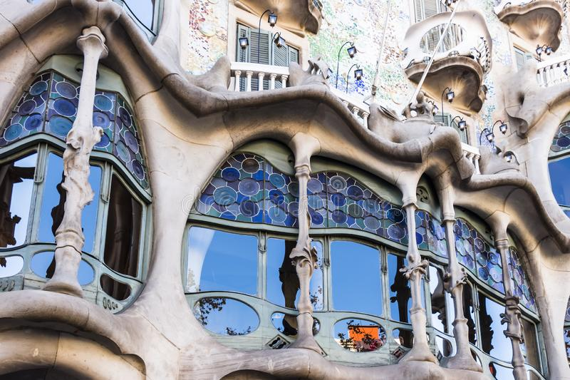 Stained glass windows of the lower floors of Casa Batllo stock images