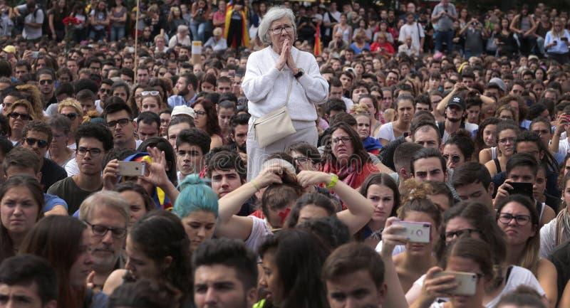 Barcelona-demostration für Unabhängigkeit stockfoto