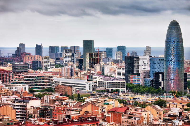 Barcelona Downtown City Skyline royalty free stock photo