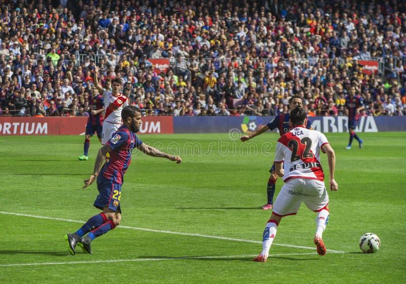 Barcelona durante el partido imagen de archivo