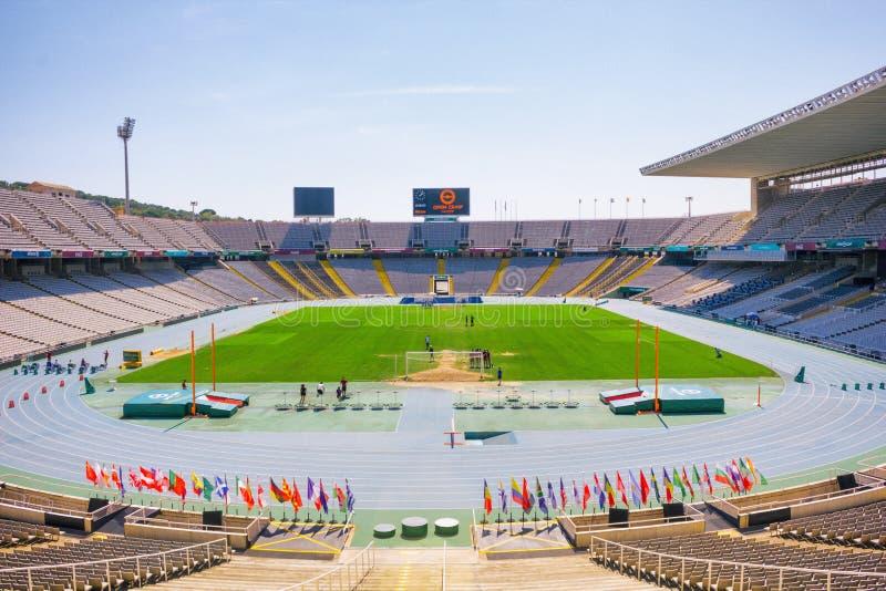 Barcelona, Espanha - 11 de setembro de 2016: O Estádio Olímpico em Barcelona fotos de stock royalty free