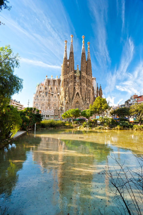 barcelona familia los angeles Sagrada Spain zdjęcia stock