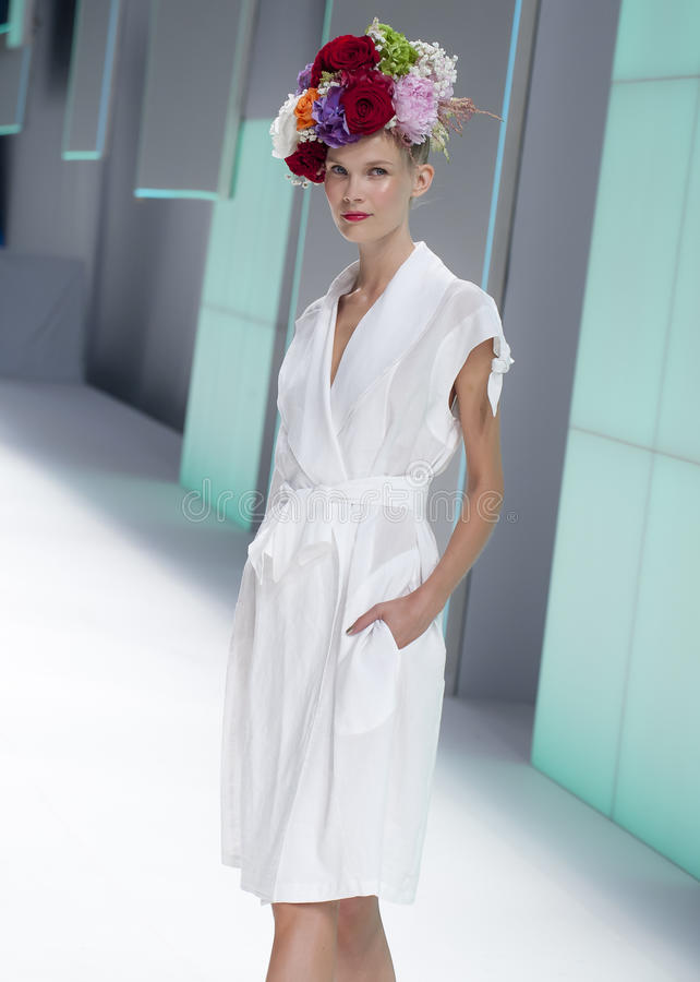 080 BARCELONA FASHION - CELIA VELA CATWALK. Celia Vela presented its new spring-summer 2016 collection during the third day of 080 Barcelona Fashion in Barcelona royalty free stock photos