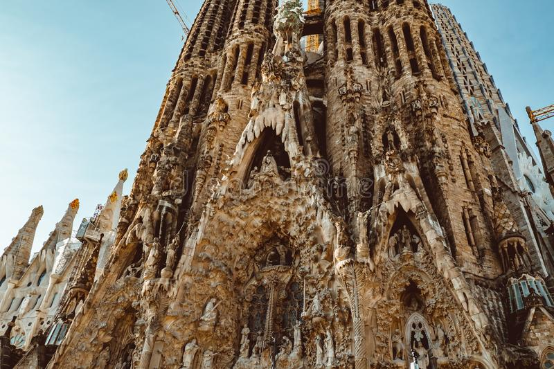 BARCELONA - AUGUST 9: The Nativity Facade of the Sagrada Familia, the most iconic landmark stock photos