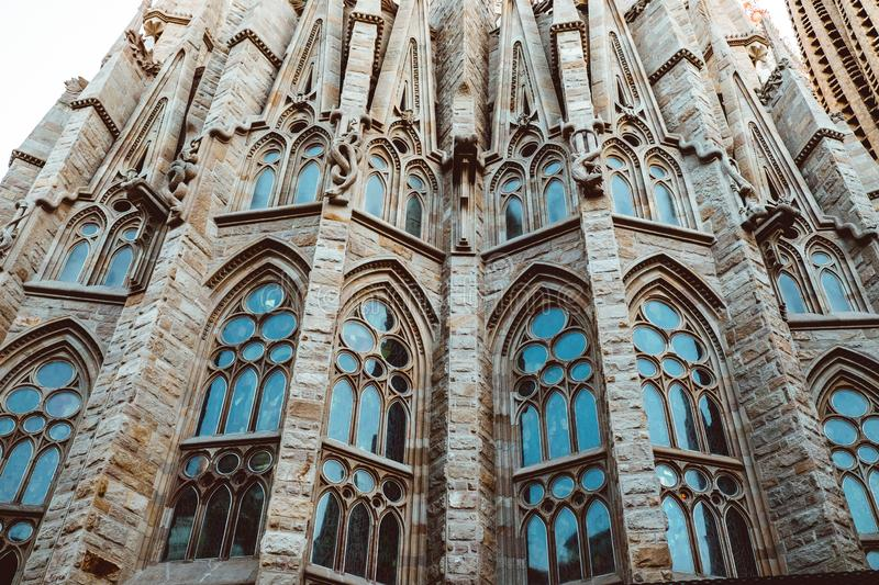 BARCELONA - AUGUST 9: The Nativity Facade of the Sagrada Familia, the most iconic landmark royalty free stock photo