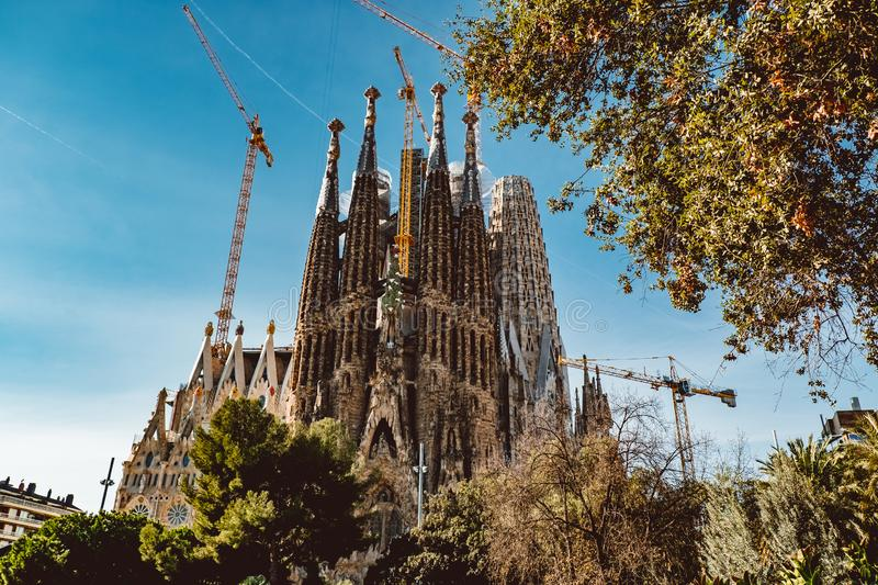 BARCELONA - AUGUST 9: The Nativity Facade of the Sagrada Familia, the most iconic landmark royalty free stock image