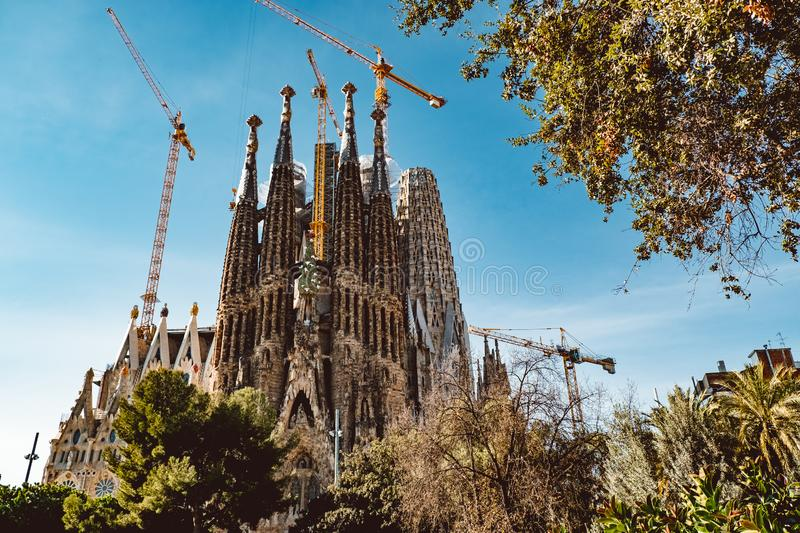 BARCELONA - AUGUST 9: The Nativity Facade of the Sagrada Familia, the most iconic landmark stock photo