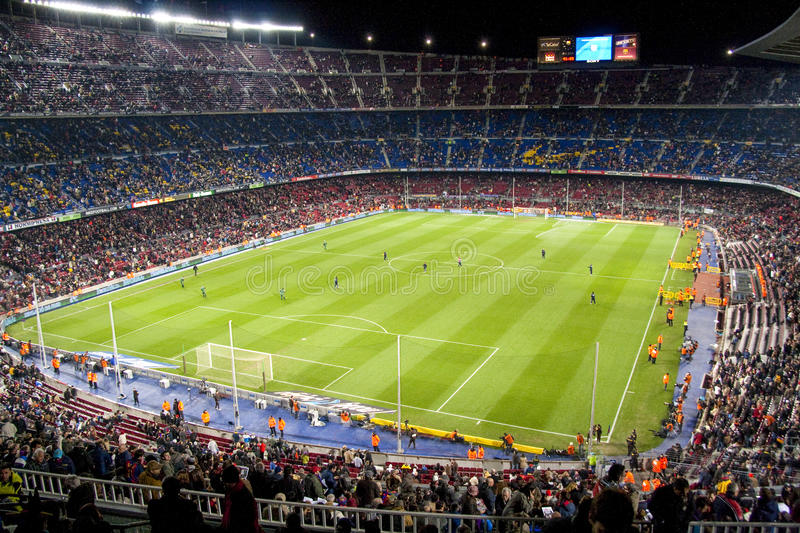 Barcelona February 2009: FC Barcelona Camp Nou stadium before a football match royalty free stock photo