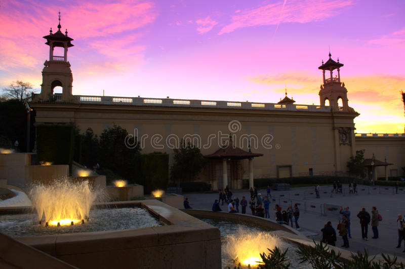 Barcelona fountains at sunset stock image