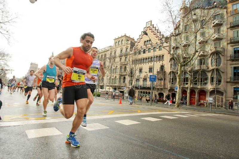 Barcelona maraton royaltyfri bild