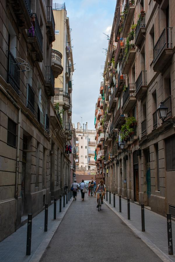 barcelona gata arkivbild