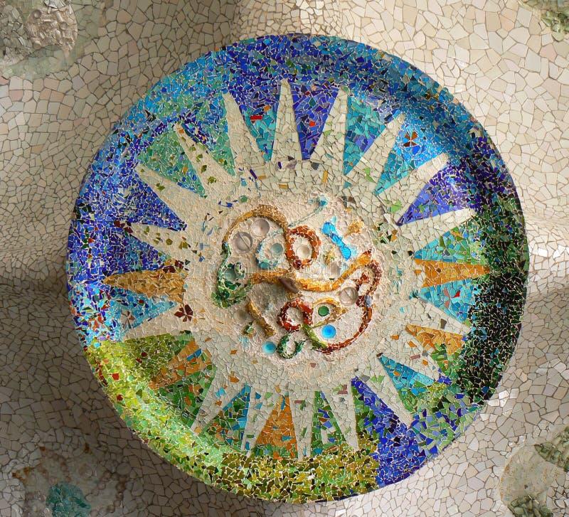 barcelona gaudi guell mozaiki park zdjęcia royalty free