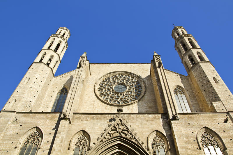Barcelona - gothic cathedral Santa Maria del mar stock images