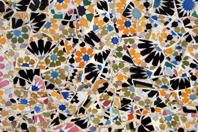 barcelona guell mozaiki park zdjęcia royalty free