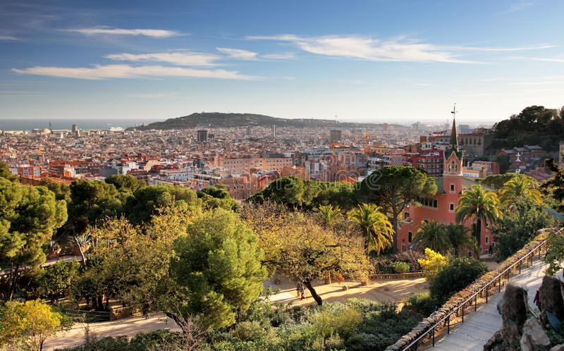 Barcelona from Guell park, Spain stock photography