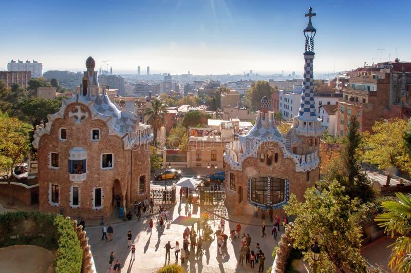 barcelona guellparc arkivbilder